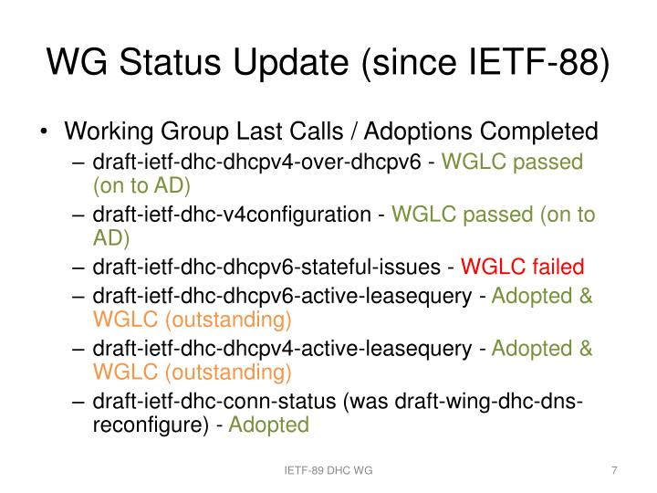 WG Status Update (since IETF-88)