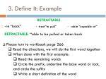 3 define it example