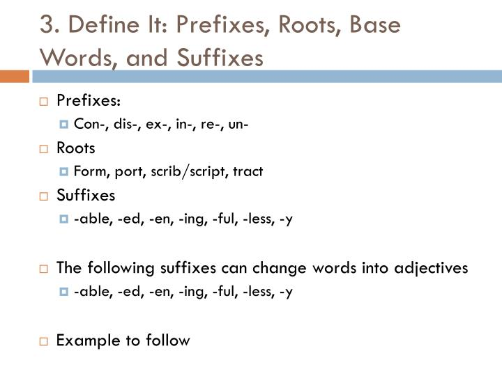 3. Define It: Prefixes, Roots, Base Words, and Suffixes