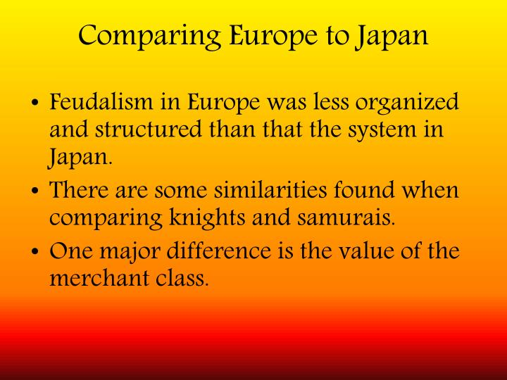 Comparing Europe to Japan