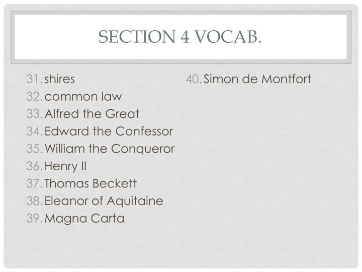Section 4 Vocab.