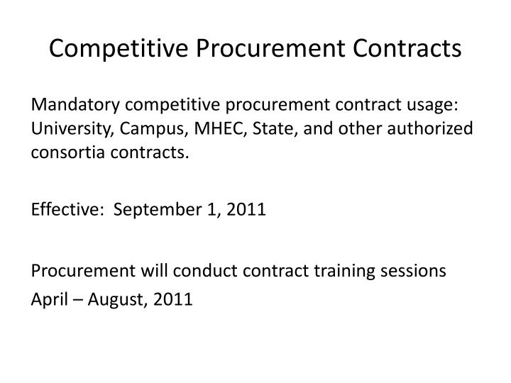 Competitive Procurement Contracts