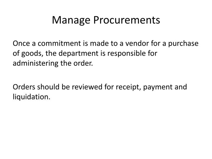 Manage Procurements