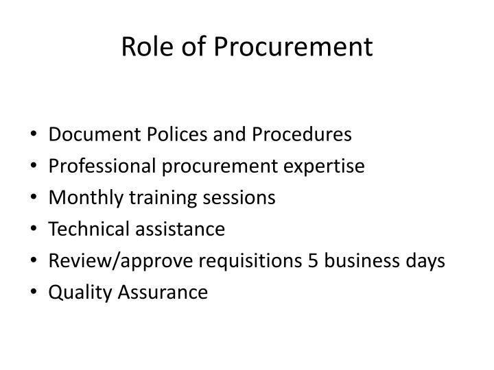 Role of Procurement