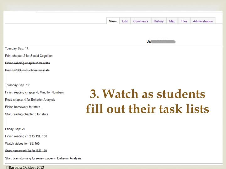 3. Watch as students fill out their task lists