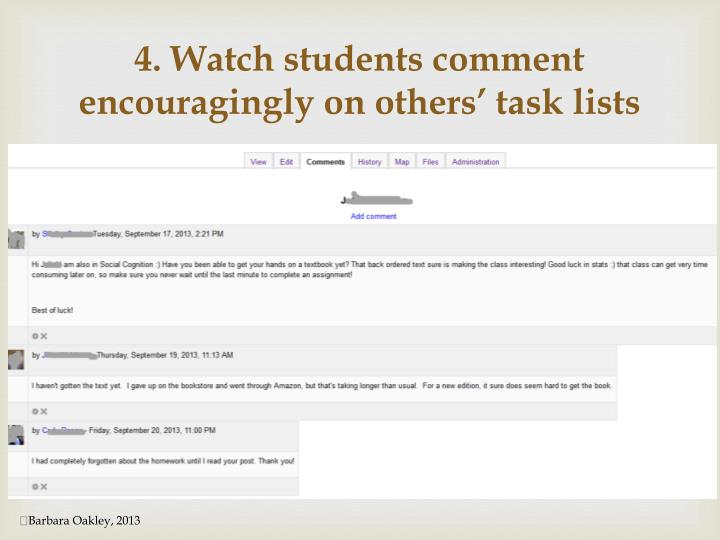 4. Watch students comment encouragingly on others' task lists