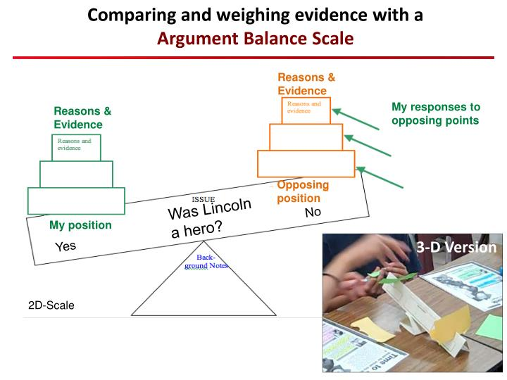 Comparing and weighing evidence with a