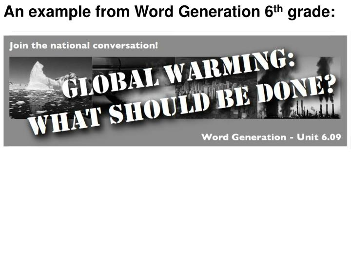 An example from Word Generation 6