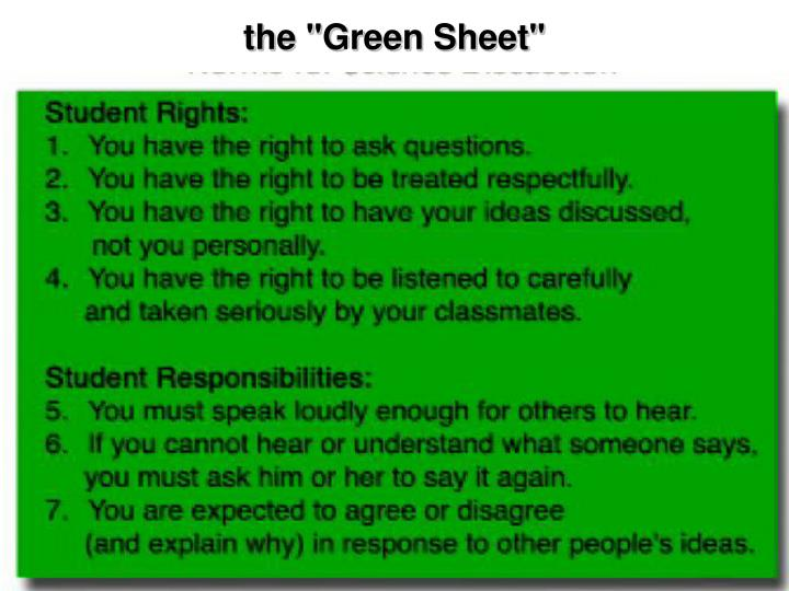 "the ""Green Sheet"""