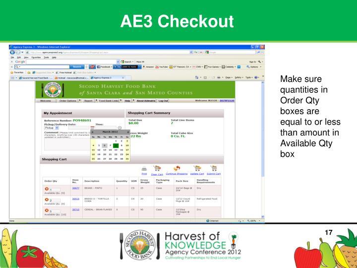 AE3 Checkout