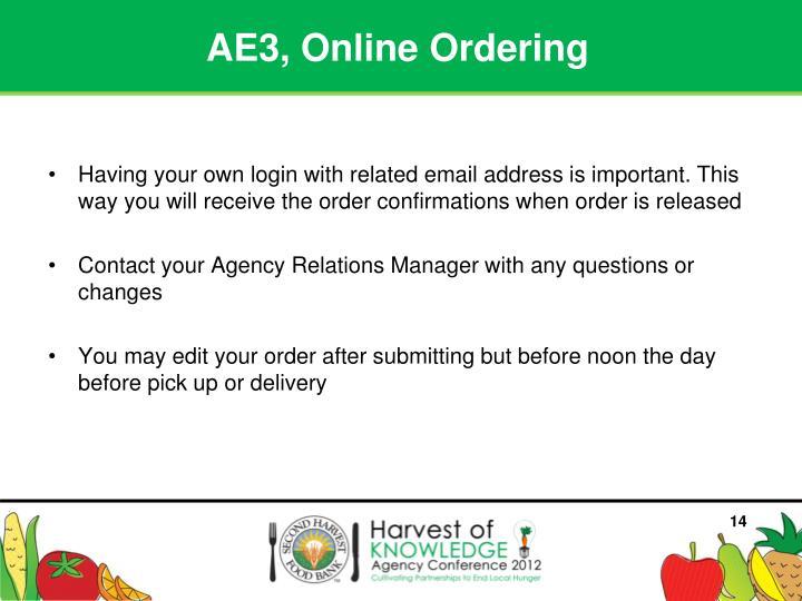 AE3, Online Ordering