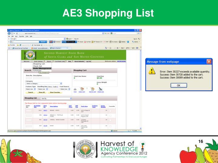 AE3 Shopping List