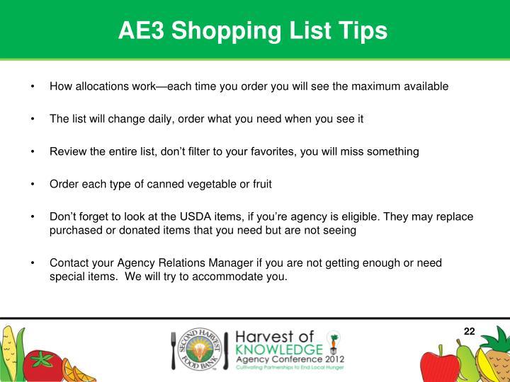 AE3 Shopping List Tips