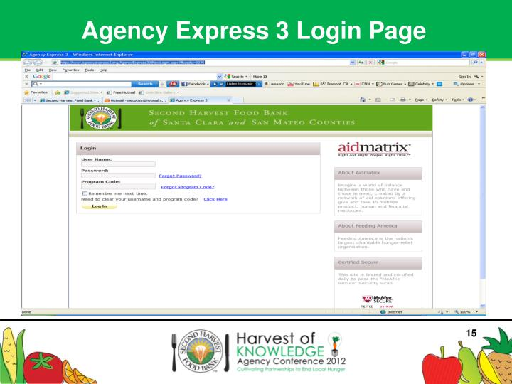 Agency Express 3 Login Page