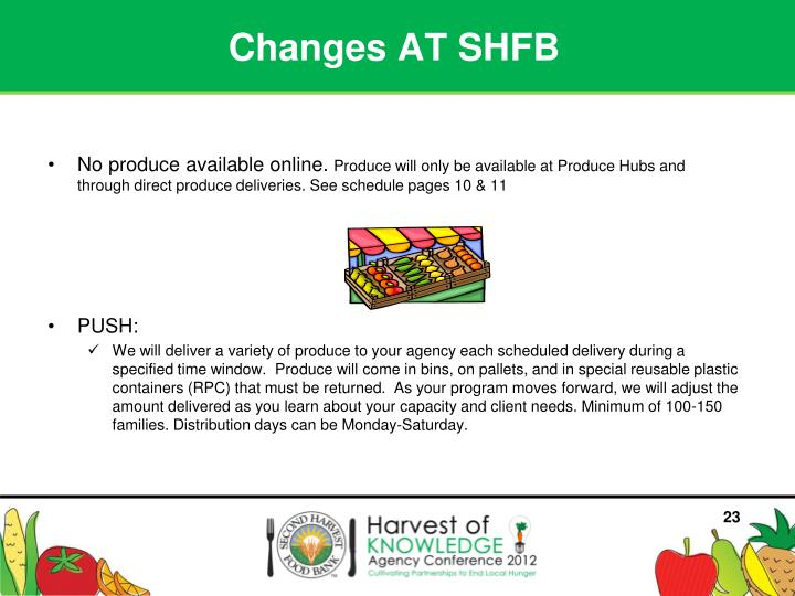 Changes AT SHFB