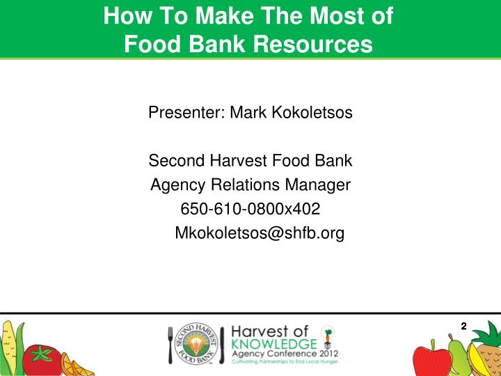 How to make the most of food bank resources1