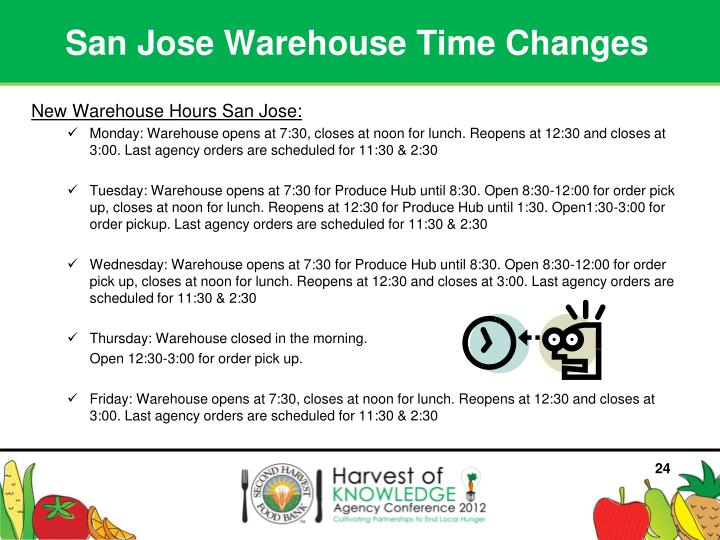 San Jose Warehouse Time Changes