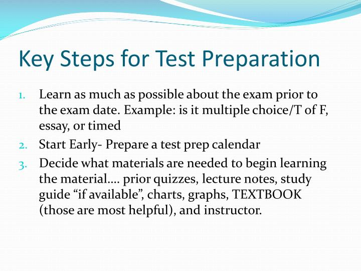 Key Steps for Test Preparation