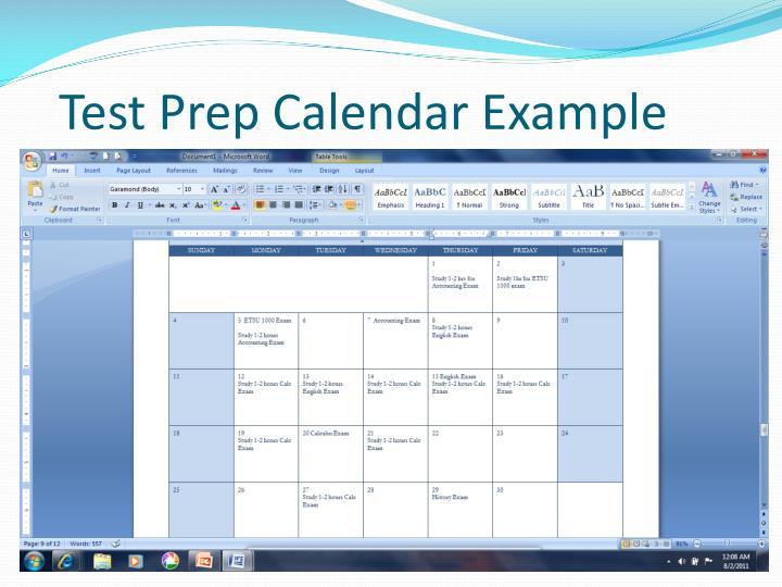 Test Prep Calendar Example