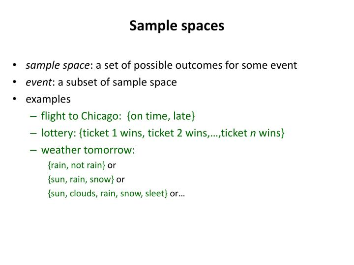 Sample spaces