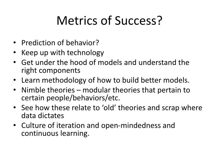 Metrics of Success?