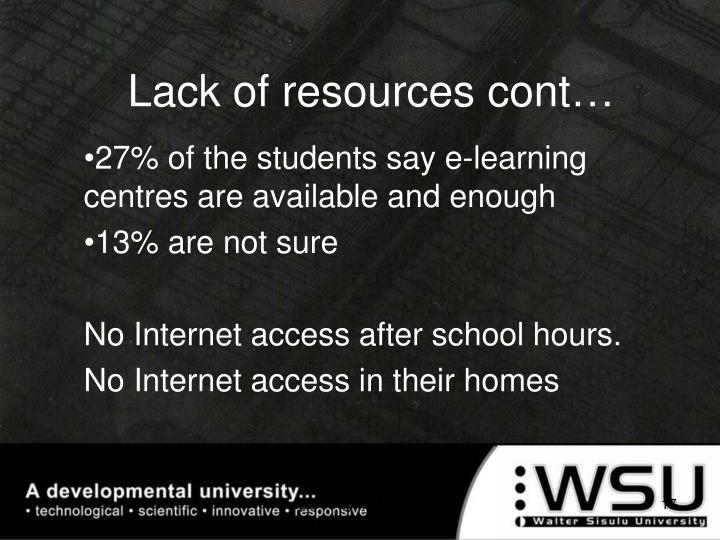 Lack of resources cont…