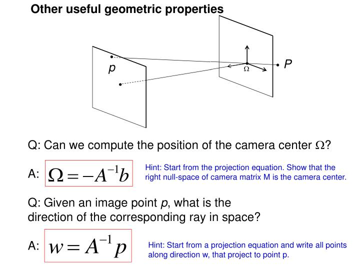 Other useful geometric properties