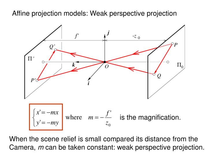 Affine projection models: Weak perspective projection