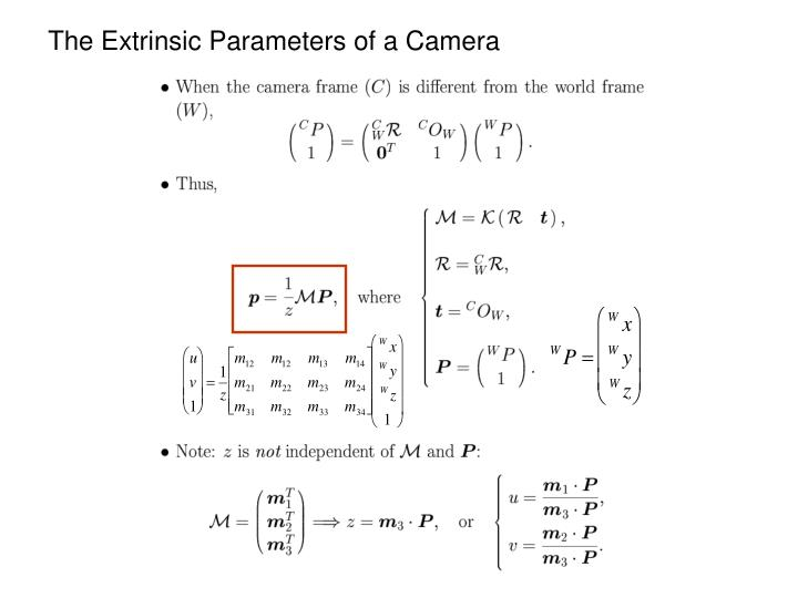 The Extrinsic Parameters of a Camera