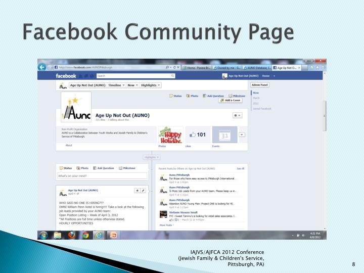 Facebook Community Page