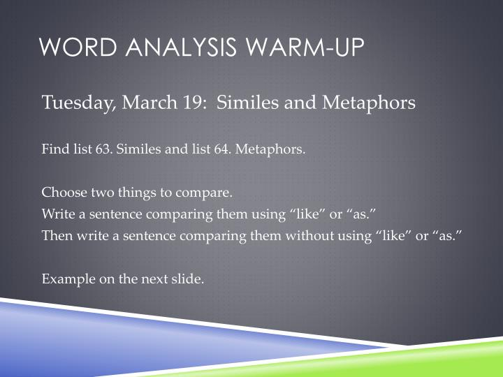 Word analysis warm up