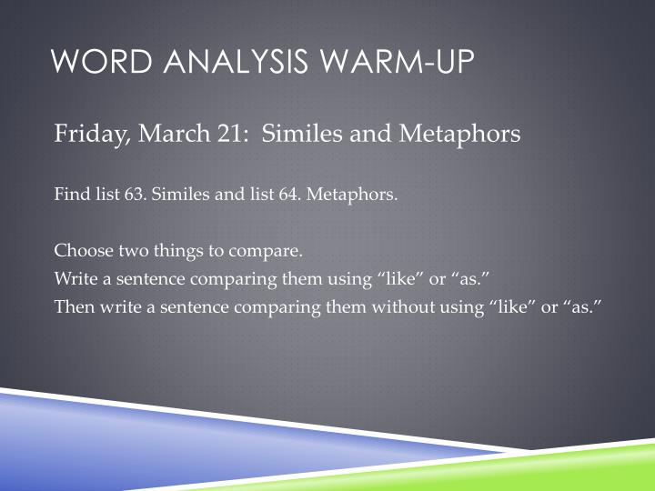 Word analysis warm-up