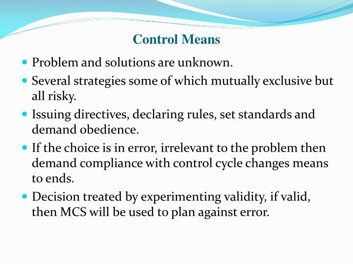 Control Means