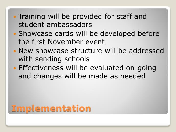 Training will be provided for staff and student ambassadors