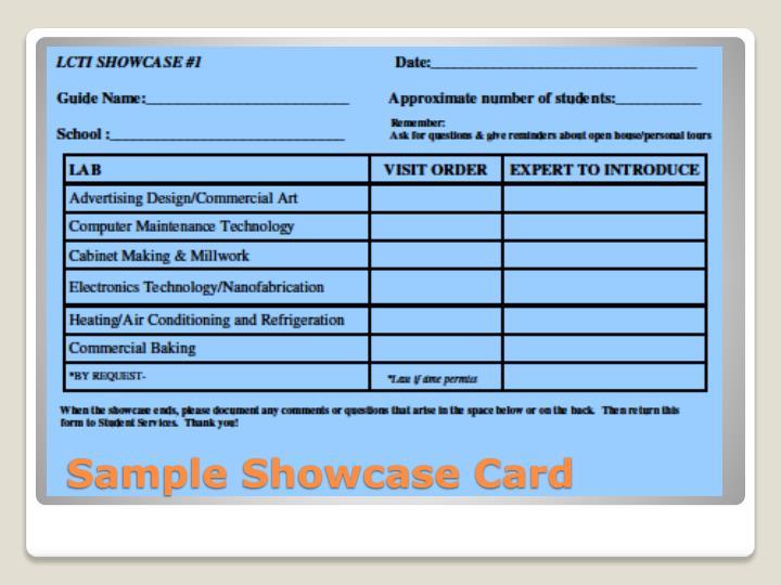 Sample Showcase Card