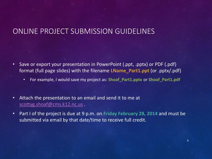 Online Project Submission Guidelines