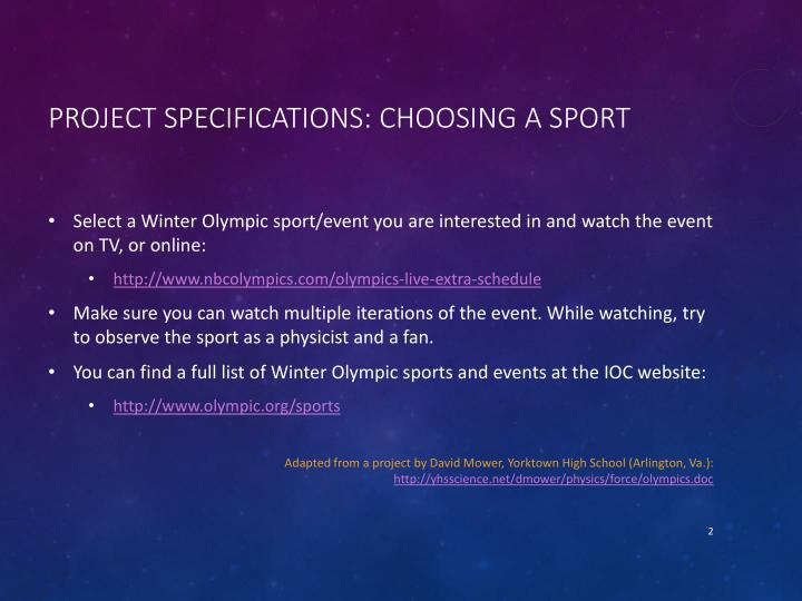 Project Specifications: Choosing a Sport