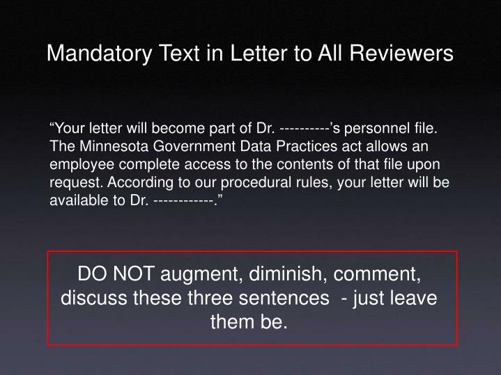 Mandatory Text in Letter to All Reviewers