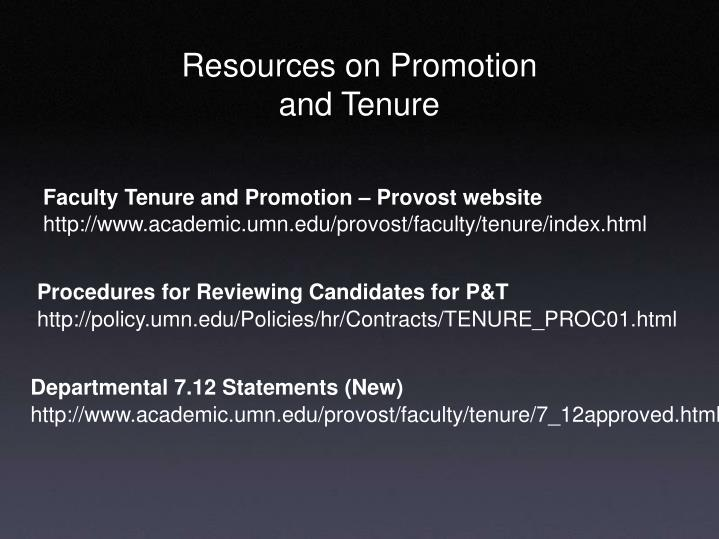 Faculty Tenure and Promotion – Provost website