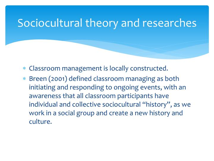 Sociocultural theory and researches