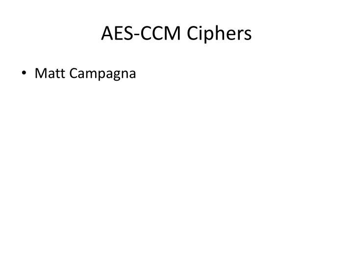 AES-CCM Ciphers