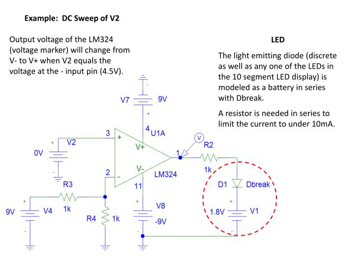 Example:  DC Sweep of V2