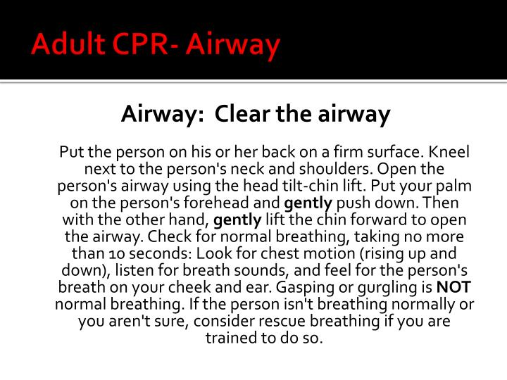 Adult CPR- Airway