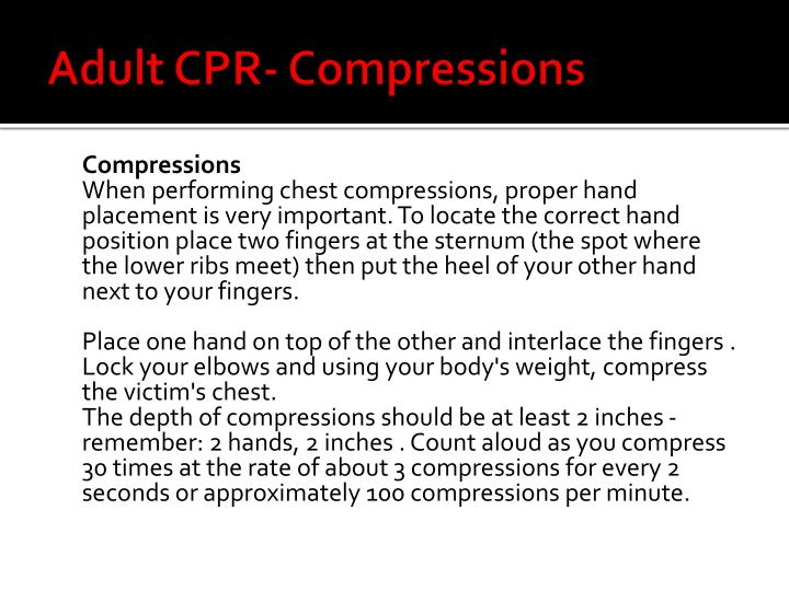 Adult CPR- Compressions