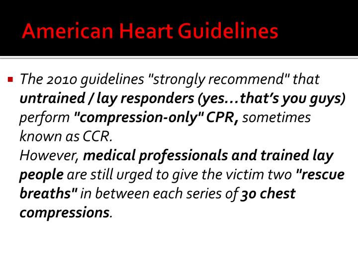 American Heart Guidelines