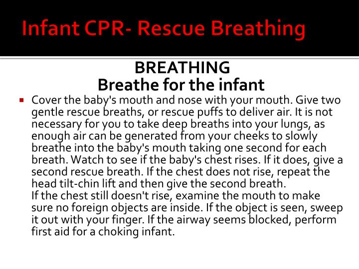 Infant CPR- Rescue Breathing