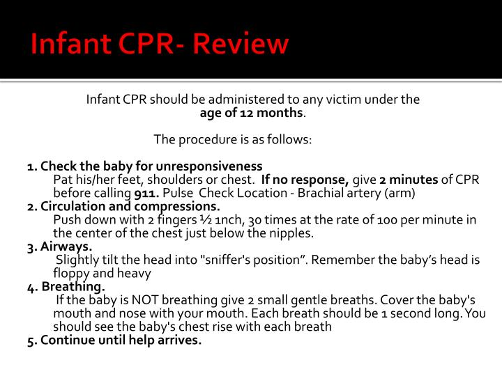 Infant CPR- Review