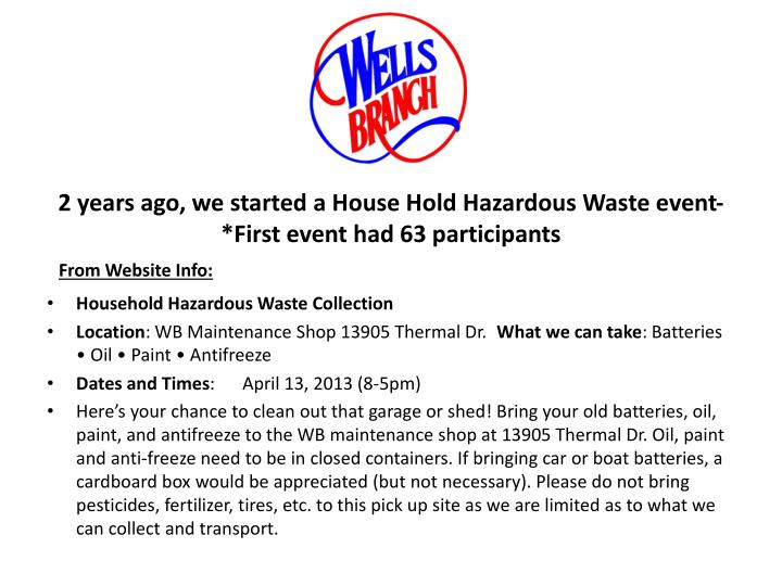 2 years ago we started a house hold hazardous waste event first event had 63 participants