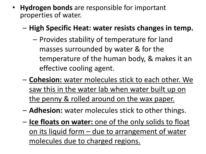High Specific Heat: water resists changes in temp.