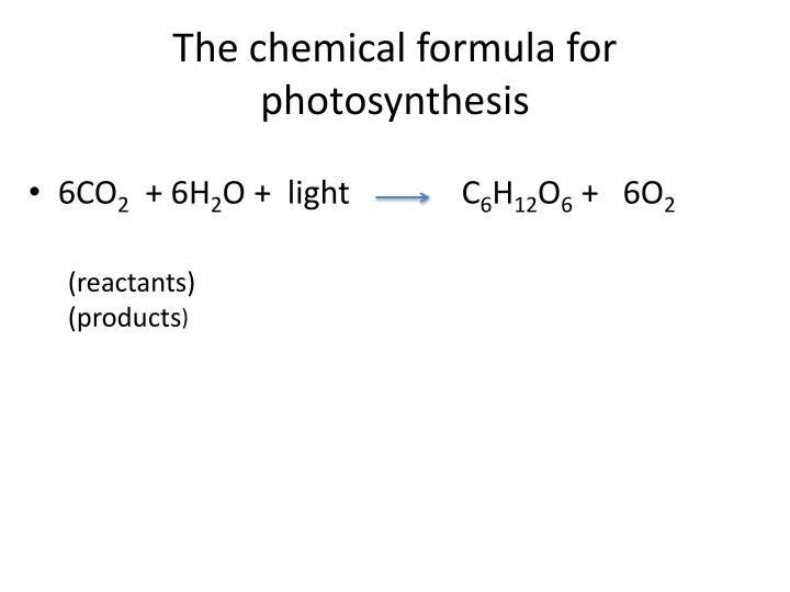 The chemical formula for photosynthesis